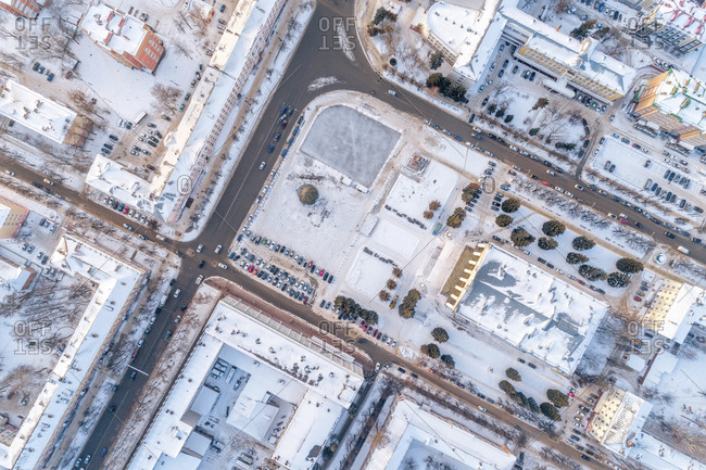 High angle view of townscape during winter