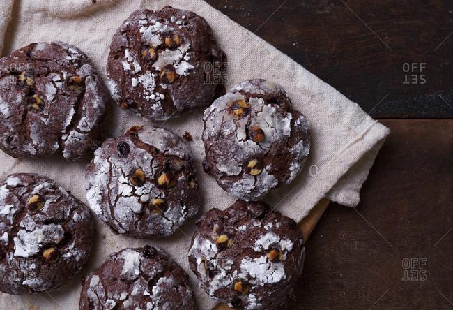 High angle view of chocolate cookies on table