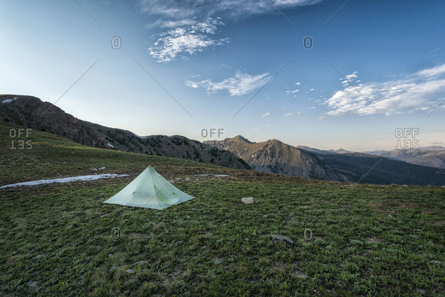 View of tent on mountain against sky