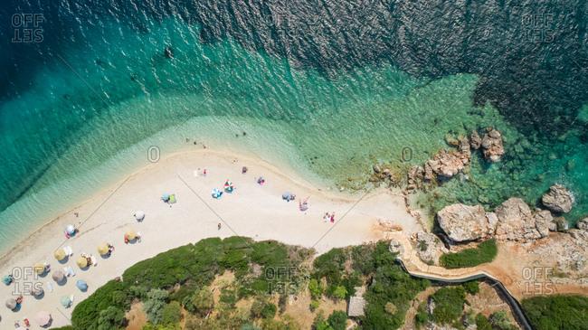 Aerial view of a beach on Agios Ioannis, Greece