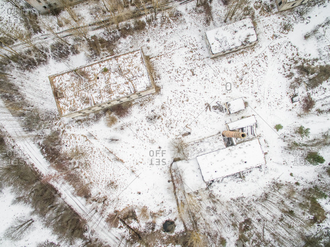 Aerial view of a deserted industrial area in Estonia