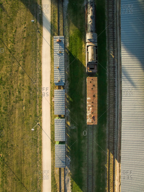 Aerial view of a railway with trains in countryside of Estonia
