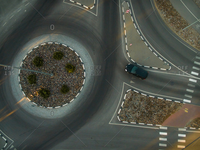 Aerial view of a traffic circle in city in Estonia