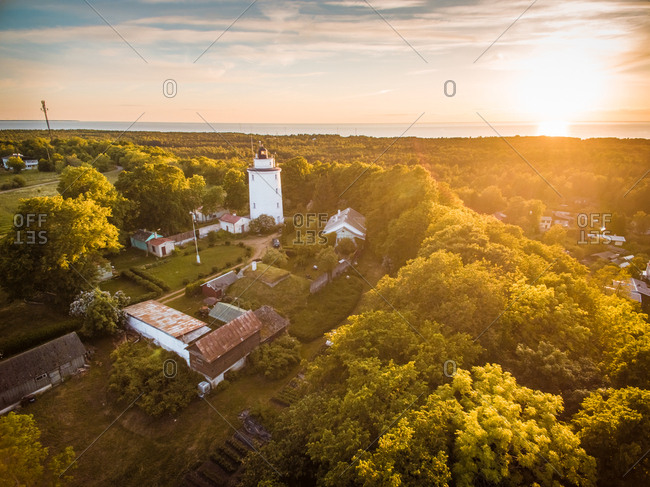 Aerial view of Suurupi lighthouse and campus at sunset in Estonia