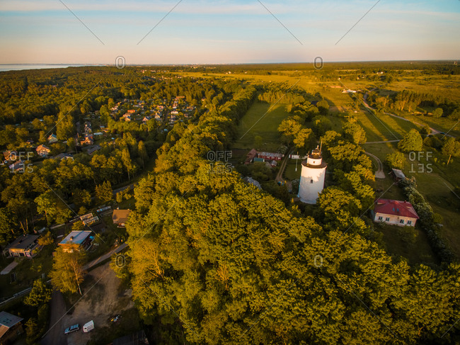 Aerial view of Suurupi lighthouse and campus  in Estonia