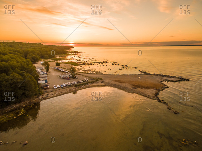 Aerial view of the coast at sunset in Estonia