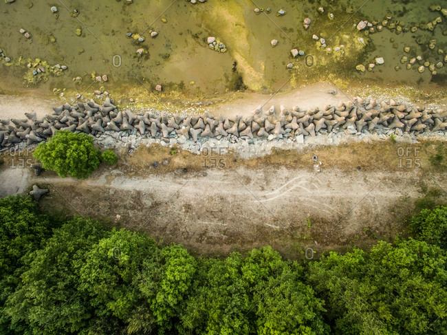 Aerial view of tetrapod concrete block on the beach in Estonia