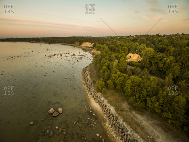 Aerial view of a house on the coast in Estonia