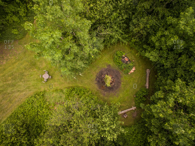 Aerial view of a campfire in the middle of the forest in Estonia