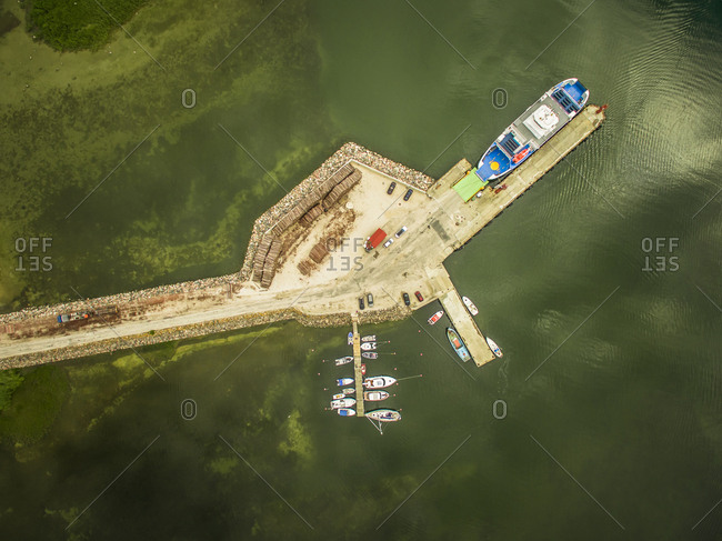 Aerial view of a small harbor on Vormsi Island in Estonia