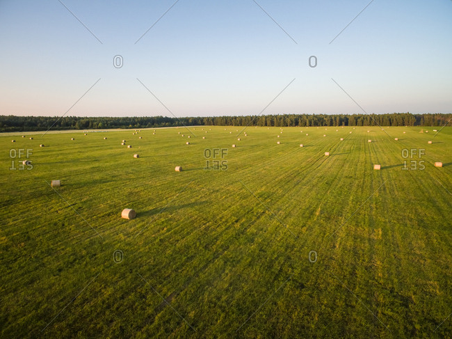 Aerial view of straw bales in meadow in Estonian countryside