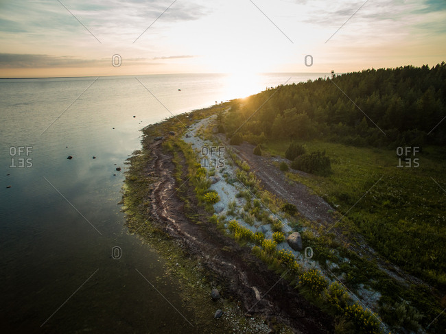 Aerial view of the estonian coastline at sunset on vormsi island