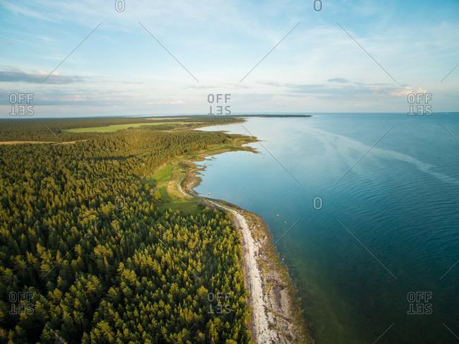 Aerial view of the coast of island Vormsi in Estonia