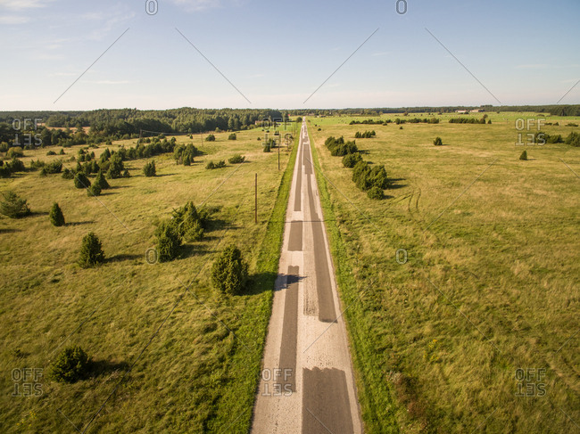 Aerial view of straight road in the countryside in Estonia