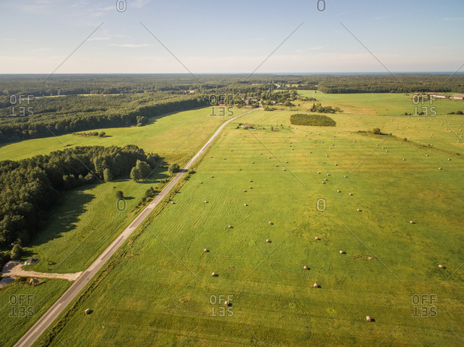 Aerial view of green lands in countryside in Estonia
