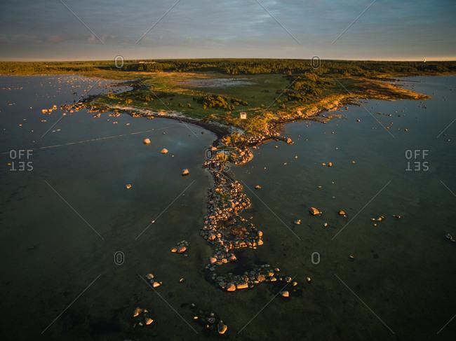Aerial view of the edge of island Vormsi at sunset in Estonia
