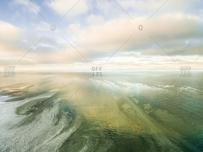 Aerial view of frost drawings in the Baltic sea in Estonia