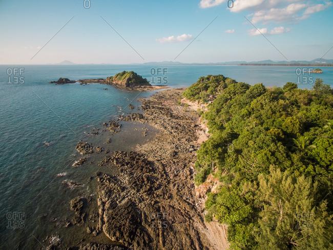 Aerial view of the rocky coast of Koh Lanta island, Thailand