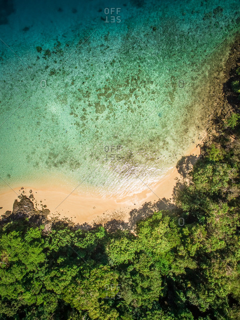 Aerial view of the paradisiacal coast of Koh Rok Yai island in Thailand