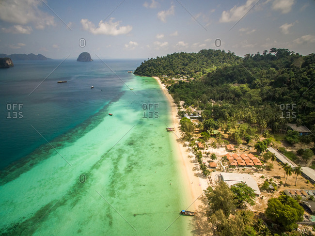 Aerial view of Chao Mai National Park idyllic coast in Thailand