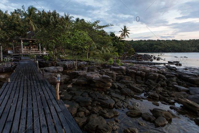 Dock and rocks on the island of Koh Kood, Thailand