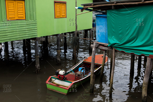 Koh Kood, Thailand - April 3, 2017: Colorful boat moored on the island of Koh Kood, Thailand