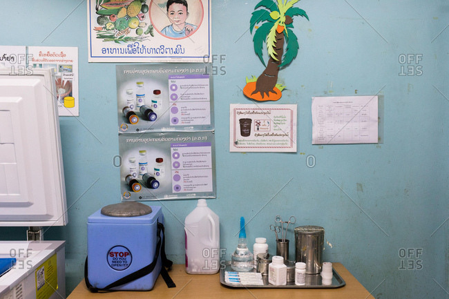 Vientiane, Laos - November 29, 2017: The immunization room in a local hospital outside of Vientiane, Laos
