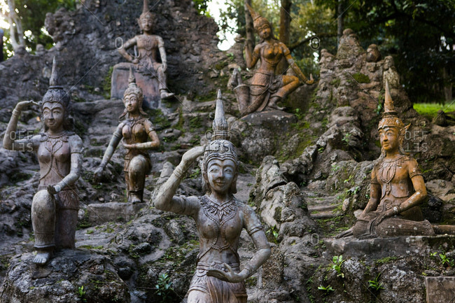 Koh Samui, Thailand - October 6, 2017: Statues in the Secret Buddha Garden in Koh Samui, Thailand