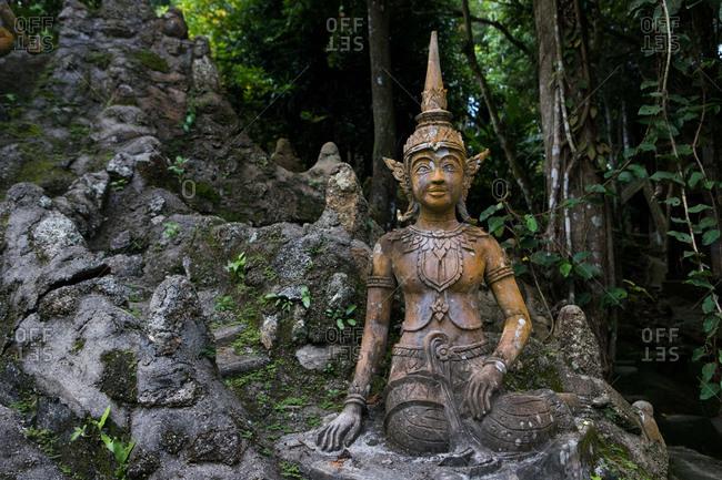 Koh Samui, Thailand - October 6, 2017: Statues in Heaven's Garden in Koh Samui, Thailand