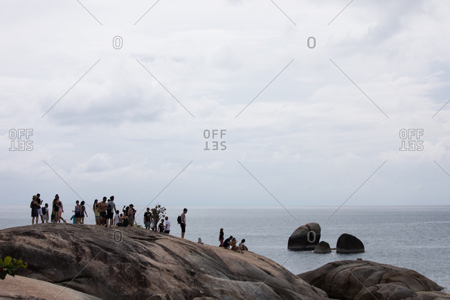 Koh Samui, Thailand - October 7, 2017: Tourists visit the Hin Ta and Hin Yai Rocks in Koh Samui, Thailand