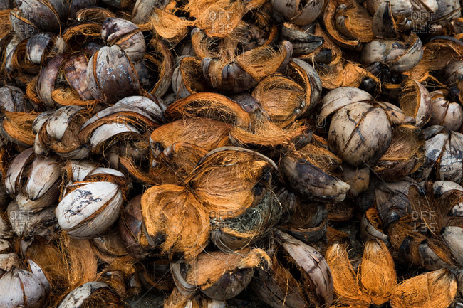 Pile of coconut shells in Koh Samui, Thailand