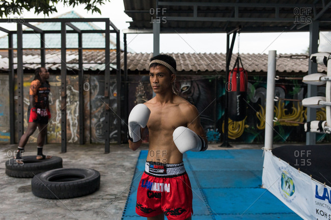Koh Samui, Thailand - October 7, 2017: Portrait of a man doing Muay Thai in Koh Samui, Thailand