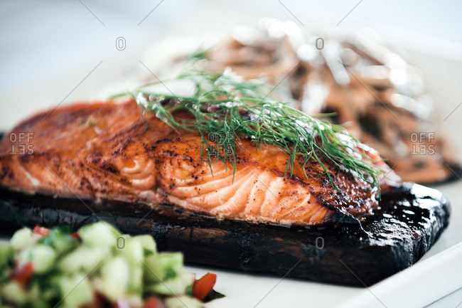 Salmon on a wooden plank
