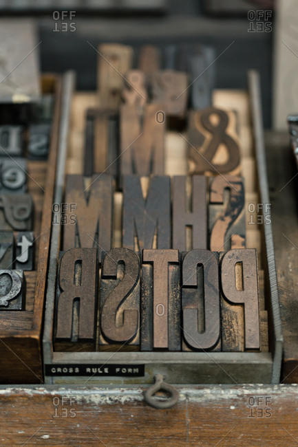 Tray of letterpress in printing workshop