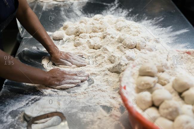 Chef making tortillas