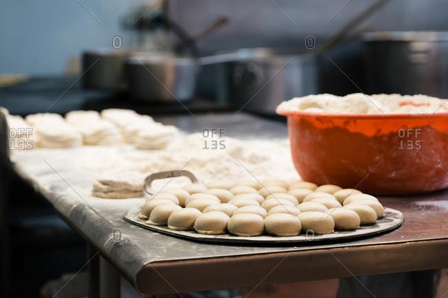 Balls of dough for making tortillas in a restaurant