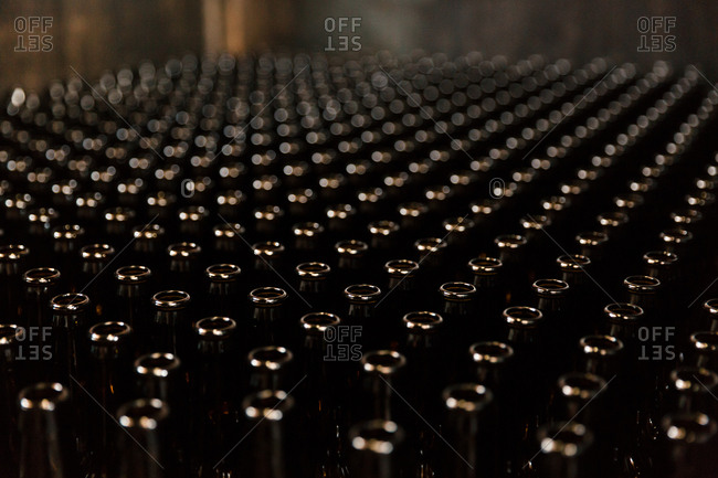 Abundance of bottles in a brewery