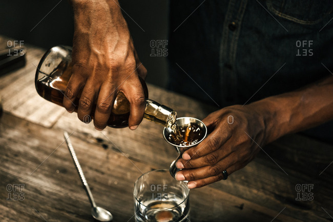 Man pouring a drink