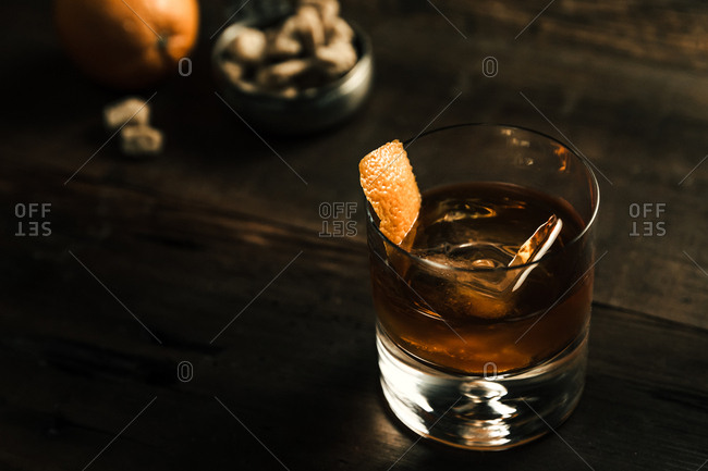 Close up of an old fashioned drink