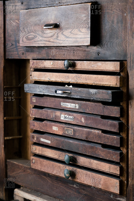 Drawers of type for letterpress