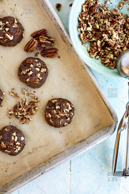 Freshly baked caramelized pecan chocolate chip cookies
