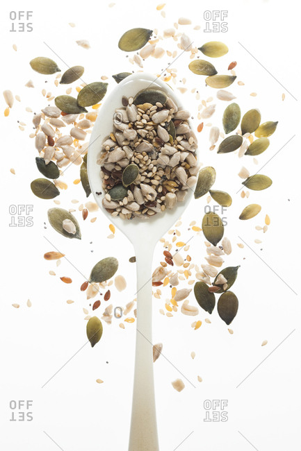 Mixed seeds on spoon