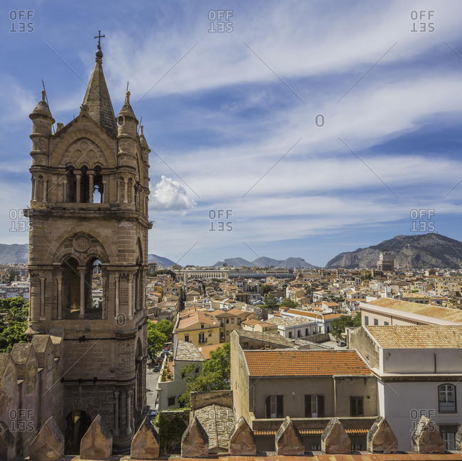 The bell tower of the Cattedrale di Palermo and the town of Palermo, Sicily