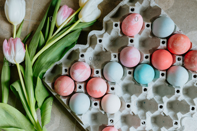 Carton of colored Easter eggs with tulips beside