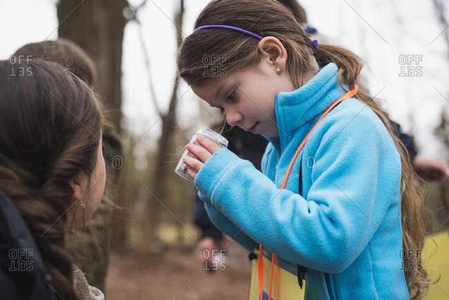 Girls learning about nature and environment in forest, Bristol, Rhode Island, USA