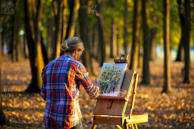 Rear view of woman painting with watercolors in forest at dusk, Neenah, Wisconsin, USA
