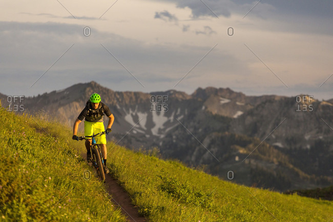 Mountain biking outside Salt Lake City in Wasatch Mountains, Utah, USA