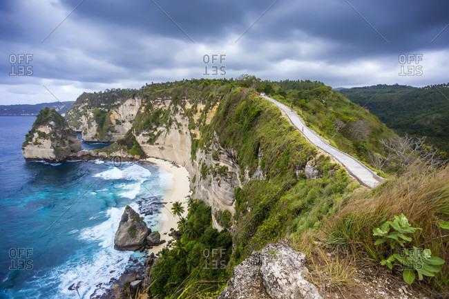 Scenery of cliffs on coastline, Nusa Penida, Bali, Indonesia