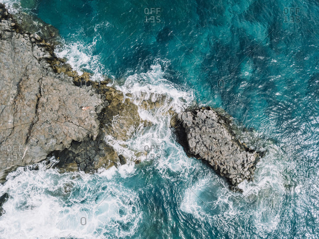 Aerial view of rocky coastline, Tenerife, Canary Islands, Spain