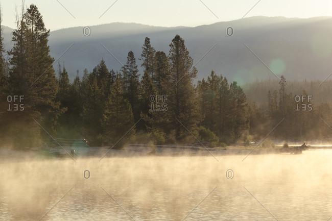 Redfish Lake in fog at sunrise, Sawtooth National Recreation Area, Stanley, Idaho, USA